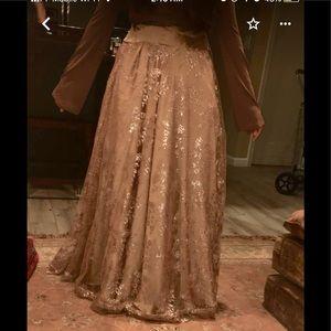 Golden net floral tulle lengha maxi skirt fancy